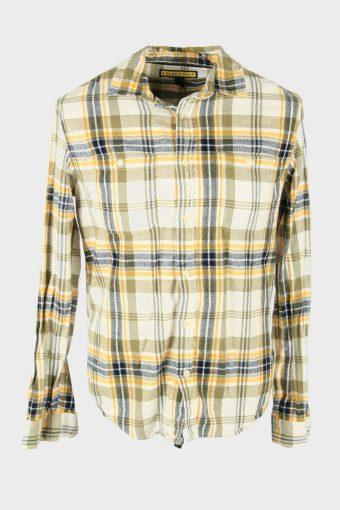 Flannel Shirt Vintage Check Long Sleeve Button 90s Cotton Multi Size M – SH4233