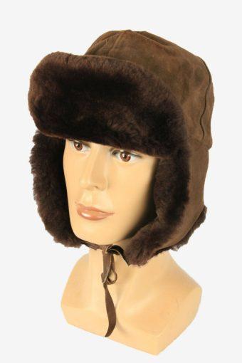 Fur Ushanka Hat Vintage Earflaps Ski Cossack 90s Brown Size 52 cm