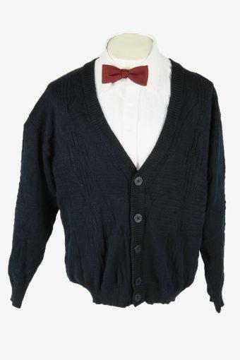 Knit Cardigan Vintage V Neck Sweater Chunky Button Up 90s Navy Size L