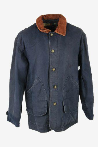 Lands End Vintage Outdoor Jacket Blanked Lined Pockets Blue Size L