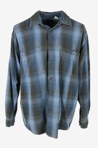 Levis Vintage Flannel Shirt Check Long Sleeve Button Cotton Blue Size L – SH4226