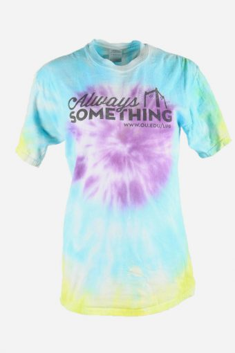 Rainbow Tie Dye T-Shirt Retro Music Festival Hipster Women Multi Size M