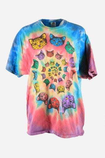 Rainbow Tie Dye T-Shirt Retro Music Festival Hipster Women Multi Size XXL
