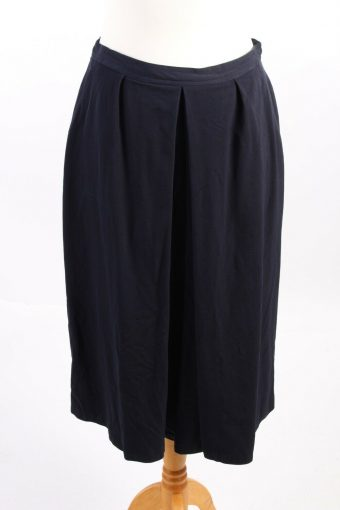 Rainer Clement Lined Long Skirt Smart 100% Wool Vintage Navy