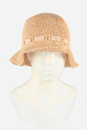 Straw Style Hat Brimmed Summer Bow 80s Retro Rose Pink Size 58 cm
