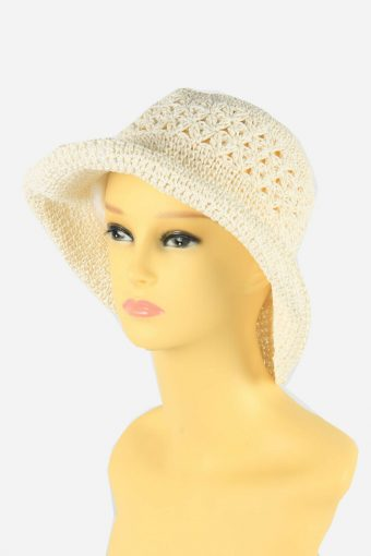 Straw Style Hat Brimmed Summer Bowknot 80s Retro White Size 58 cm