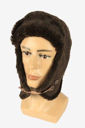 Suede Fur Winter Hat Ushanka Vintage Earflaps 80s Brown Size 56 cm