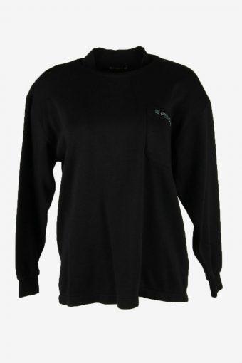 Vintage 90s Sweatshirt Plain Pullover Sports Retro Black Size M