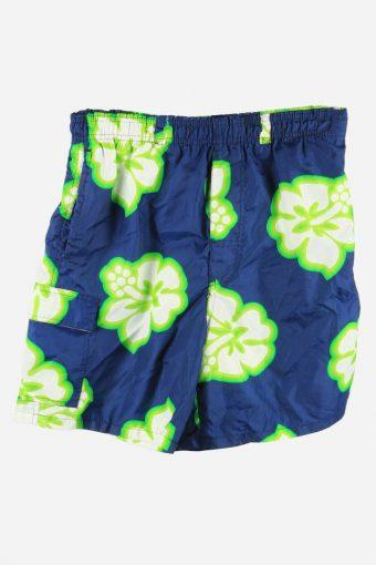 Vintage Beach Loud Bermuda Holiday Hawaiian   Floral Shorts Navy Size S