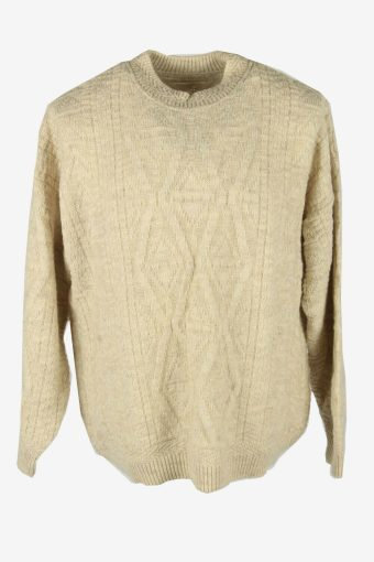 Vintage Cable Knit Wool Jumper Crew Neck Pullover 90s Beige Size XL