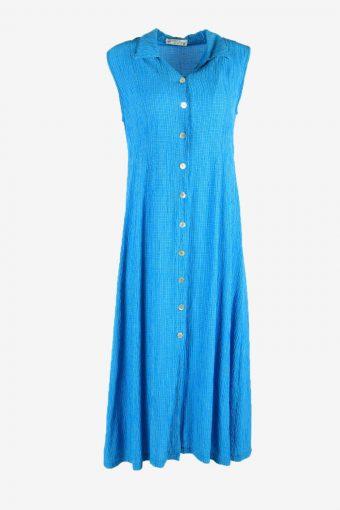 Vintage Check Midi Dress Sleeveless Collared 80re  Blue Size XL