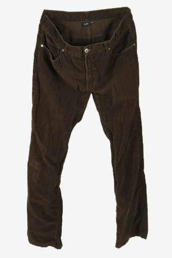 Vintage Corduroy Cord Trousers Straight Fit Smart Brown Size W34 L32