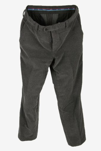 Vintage Corduroy Cord Trousers Straight Fit Smart Grey Size W35 L31