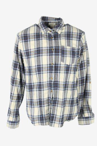 Vintage Flannel Shirt Check Long Sleeve Button 90s Cotton Multi Size XL – SH4223