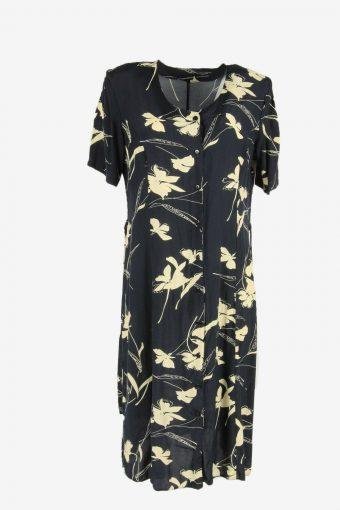 Vintage Floral Midi Dress Short Sleeve Round Neck Navy Size XL