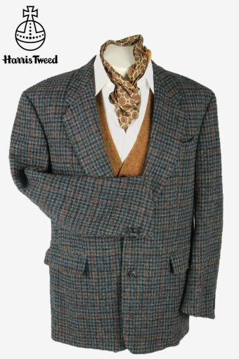 Vintage Harris Tweed Blazer Jacket Check Windowpane 90s Grey Size L