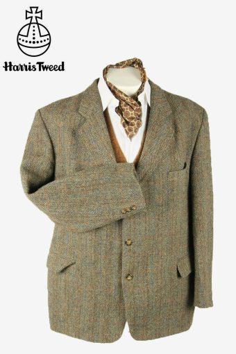 Vintage Harris Tweed Blazer Jacket Herringbone Windowpane Beige Size XXXL