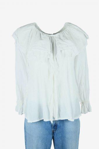 Vintage Plain Blouse Boho Indian Tunic Kaftan Top Retro 90s White Size S