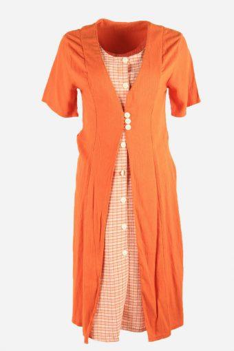 Vintage Plain Dress Short Sleeve Dress Button Up Midi Women Orange Size L