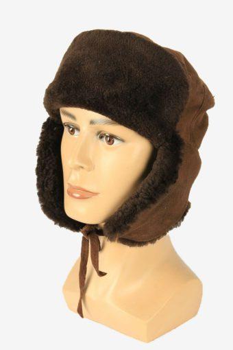 Vintage Russian Style Fur Hat Earflaps Winter Warm Brown Size 52 cm