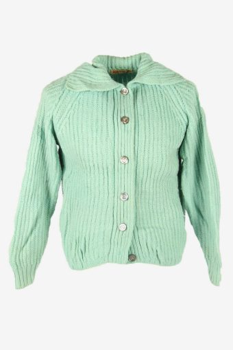 Vintage Wool Cardigan Cable Knit Collared Button 90s Turquoise Size L