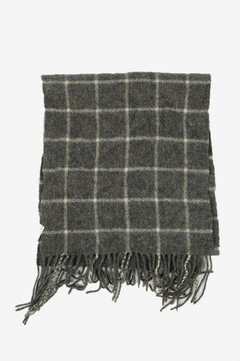 Vintage Wool Check Tartan Scarf Winter Soft Warm Neck 90s Retro Grey