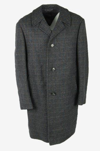 Vintage Wool Coat Windowpane Coat Jacket Classic Suit Grey Size XXL