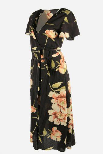 Vintage Wrap Floral Dress Short Sleeve V Neck 90s Maxi Women Black Size S