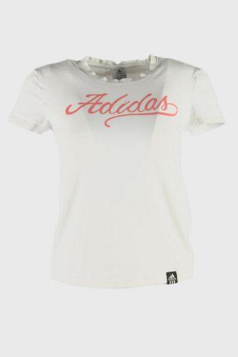 Women Adidas T-Shirt Tee Short Sleeve Sports 90s Retro White Size S