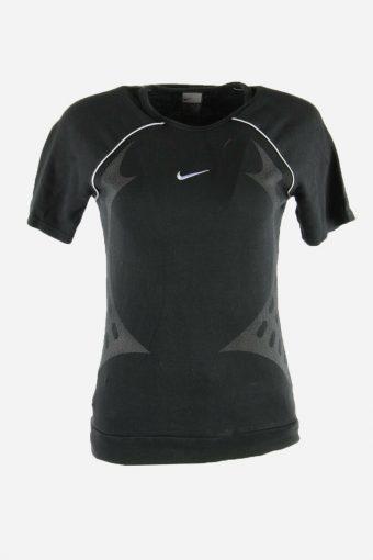 Women Nike T-Shirt Tee Short Sleeve Crew Neck 90s Retro Black Size L
