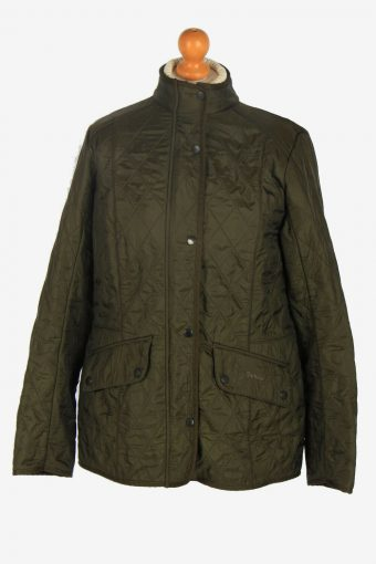 Womens Barbour Polar Quilted Jacket Vintage Lining Retro Green Size L