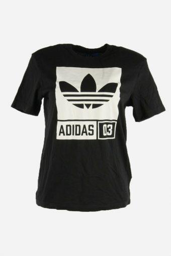 Adidas Tshirt Tee Women Short Sleeve Crew Neck Sports Retro Black Size S