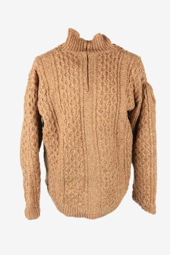 Aran Cable Knit Jumper Vintage Turtle Neck Zip Pullover Brown Size XXL