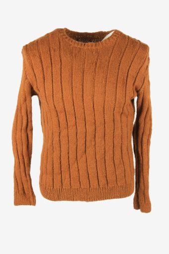 Aran Vintage Wool Jumper Cable Knit Crew Neck Pullover 90s Brown Size M