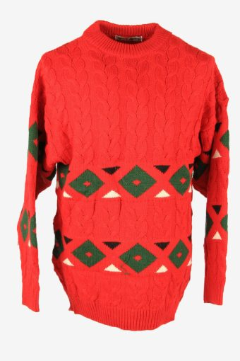 Aran Vintage Wool Jumper Cable Knit Crew Neck Pullover 90s Red Size L
