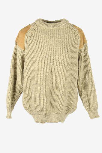 Cable Knit Jumper Aran Elbow Patch Vintage Crew Neck 90s Beige Size XL
