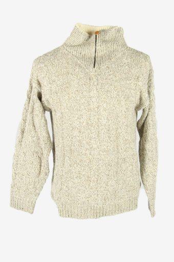 Cable Knit Jumper Aran Vintage Turtle Neck Zip Pullover  Multi Size S