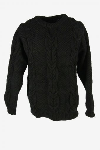 Cable Knit Wool Jumper Vintage Crew Neck Pullover 90s Black Size L