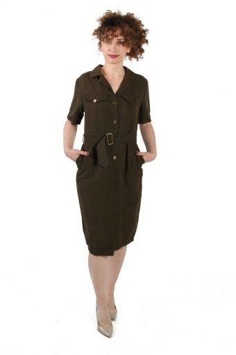 Cantarelli Cotton Button-up Short Sleeve Khaki Day/Work Dress