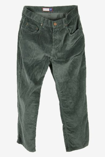 Corduroy Cord Trousers Vintage Loose Smart Dark Green Size W32 L30