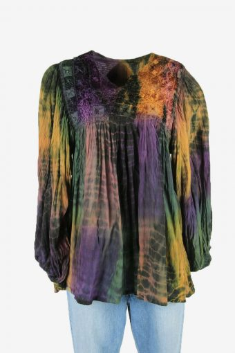 Embroidered Blouse Tunic Top Hippie Gypsy Vintage Kaftan Multi Size L