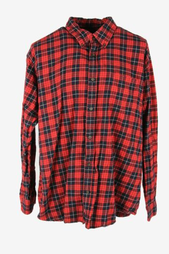 Flannel Shirt Vintage Check Long Sleeve Button 90s Cotton Red Size XXL – SH4252