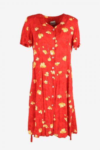 Flowers Vintage Midi Dress Short Sleeve V Neck 90s Retro Red Size L