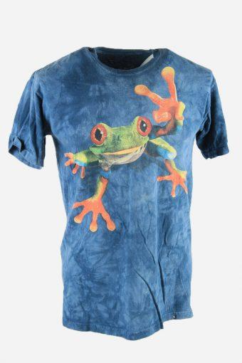 Frog Animal Print Tie Dye T-Shirt Retro Festival Hipster Men Navy Size M