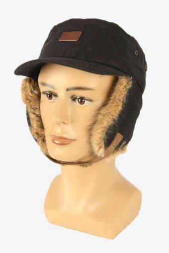 Fur Cap Hat Vintage Earflaps Ski Cossack 90s Black Size 64 cm