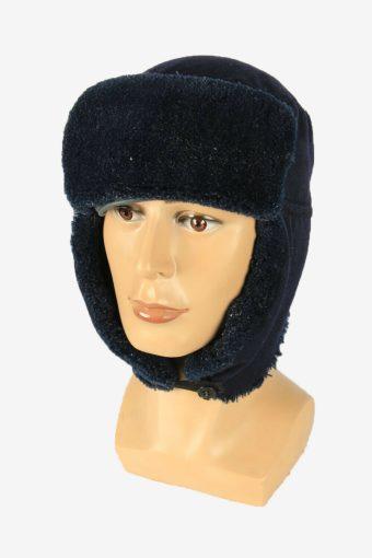 Fur Cap Hat Vintage Earflaps Ski Cossack Winter 90s Navy Size 57 cm