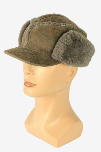 Fur Suede Cap Hat Vintage Earflaps Ski Cossack 90s Grey Size 56 cm