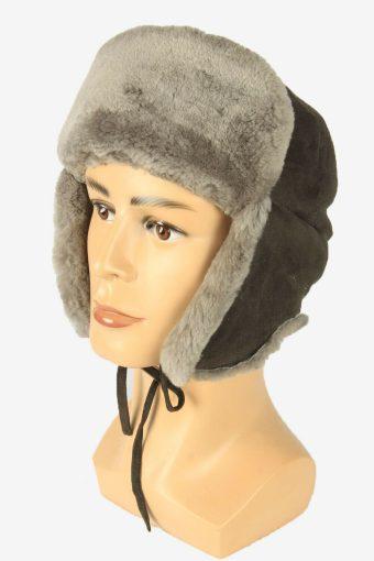 Fur Ushanka Hat Vintage Earflaps Ski Cossack 90s Grey Size 50 cm