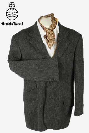Harris Tweed Vintage Blazer Jacket Herringbone Weave 80s Grey Size L