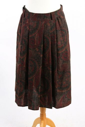 Hucke Mode Collection Printed Skirt Long Lined Wool Vintage Multi